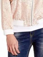 Kurtka bomber jacket z żakardowego materiału przeplatanego nicią w kolorze różowego złota                                  zdj.                                  5