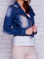 Kurtka jeansowa ramoneska z przetarciami niebieska                                  zdj.                                  3