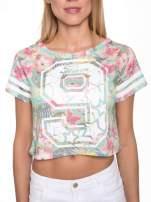 Kwiatowy t-shirt typu crop top z numerkiem                                  zdj.                                  6