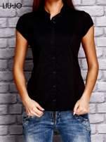 LIU JO Czarny t-shirt z guzikami                                  zdj.                                  1