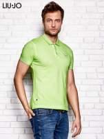 LIU JO Zielona dekatyzowana koszulka polo męska                                   zdj.                                  3