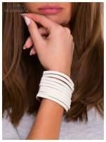 LOLITA Biała bransoletka skórzana WRAP kryształki cyrkonie szeroka 5 cm BLOGERS HIT                                  zdj.                                  3