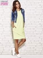 Limonkowa prosta sukienka dresowa                                  zdj.                                  2