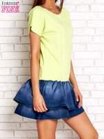 Limonkowa sukienka dresowa z jeansowym dołem                                  zdj.                                  3