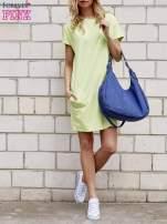 Limonkowa sukienka dresowa z kieszeniami po bokach                                  zdj.                                  4