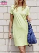 Limonkowa sukienka dresowa z kieszeniami po bokach                                  zdj.                                  1
