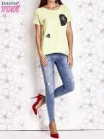 Limonkowy t-shirt z motywem serca i kokardki                                  zdj.                                  2