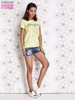 Limonkowy t-shirt z napisem BONJOUR                                  zdj.                                  2