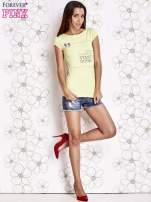 Limonkowy t-shirt z napisem STOP DREAMING START DOING                                  zdj.                                  4