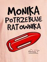 Łososiowy t-shirt damski MONIKA POTRZEBUJE RATOWNIKA by Markus P                                  zdj.                                  2