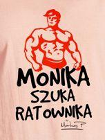 Łososiowy t-shirt damski MONIKA SZUKA RATOWNIKA by Markus P                                  zdj.                                  2