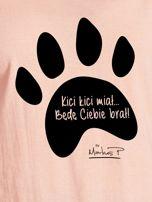 Łososiowy t-shirt damski z łapką KICI KICI MIAŁ by Markus P                                  zdj.                                  2
