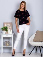 Luźny t-shirt we flamingi czarny                                  zdj.                                  4
