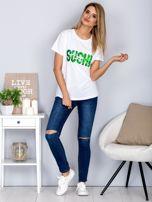 Luźny t-shirt z cekinowym napisem SUSHI biały                                  zdj.                                  4