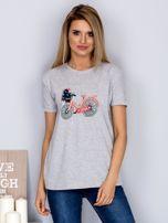 Luźny t-shirt z haftowaną aplikacją roweru jasnoszary                                  zdj.                                  1