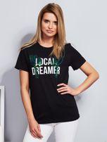 Luźny t-shirt z kaktusami z cekinów czarny                                  zdj.                                  1