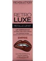 Makeup Revolution Retro Luxe Metallic Lip Kit Zestaw do ust konturówka 1g + pomadka w płynie 5,5ml Empire                                   zdj.                                  1