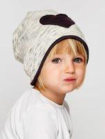 Melanżowa czapka dziewczęca z naszywką serca szaro-czarna                                  zdj.                                  4