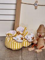Miękkie buciki dziecięce w paski z ozdobnym kotkiem żółte                                  zdj.                                  2