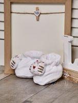 Miękkie buciki dziecięce z ozdobnym kotem białe                                  zdj.                                  2