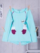 Miętowa bawełniana bluzka dla dziewczynki                                   zdj.                                  7