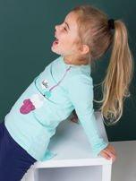 Miętowa bawełniana bluzka dla dziewczynki                                   zdj.                                  1