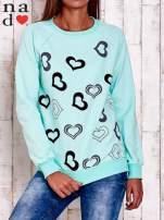 Miętowa bluza w serduszka                                                                          zdj.                                                                         1