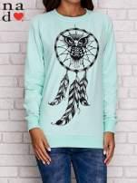 Miętowa bluza z motywem sowy i łapacza snów