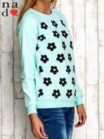 Miętowa bluza z nadrukiem kwiatów                                                                          zdj.                                                                         3