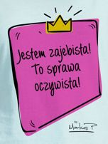 Miętowy t-shirt damski JESTEM ZAJEBISTA! by Markus P                                  zdj.                                  2