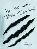 Miętowy t-shirt damski KICI KICI MIAŁ by Markus P                                  zdj.                                  2