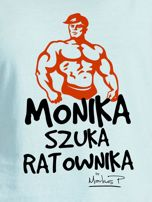 Miętowy t-shirt damski MONIKA SZUKA RATOWNIKA by Markus P                                  zdj.                                  2
