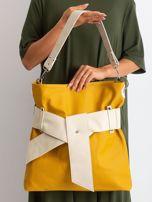 Musztardowo-beżowa torba ze skóry ekologicznej                                  zdj.                                  2