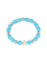 Niebieska Bransoletka koralikowa z kulką schamballa                                                                          zdj.                                                                         2