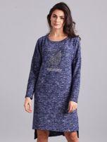 Niebieska asymetryczna sukienka z aplikacją                                  zdj.                                  1