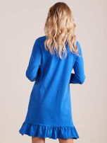 Niebieska bawełniana sukienka z falbanką                                  zdj.                                  2