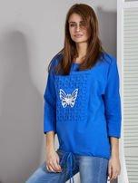 Niebieska bluza z motywem motyli                                  zdj.                                  3