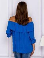 Niebieska bluzka hiszpanka z podwijanymi rękawami                                  zdj.                                  2