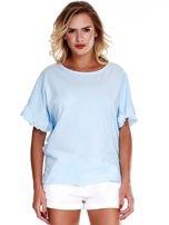 Niebieska bluzka o luźnym kroju z falbankami na rękawach                                  zdj.                                  1