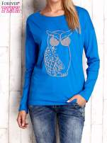 Niebieska bluzka z aplikacją w kształcie sowy                                  zdj.                                  1