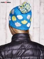 Niebieska czapka w kolorowe grochy z pomponem FUNK N SOUL