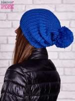 Niebieska czapka z dużym pomponem                                  zdj.                                  3