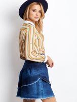 Niebieska denimowa spódnica z warstwowymi falbanami                                  zdj.                                  3