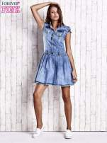 Niebieska denimowa sukienka z obniżonym stanem                                  zdj.                                  2