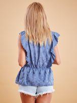 Niebieska haftowana bluzka z marszczeniem                                  zdj.                                  2