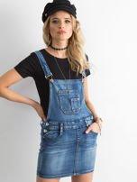 Niebieska jeansowa spódnica na szelkach                                  zdj.                                  1
