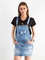 Niebieska jeansowa spódnica z szelkami                                  zdj.                                  1