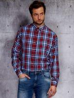 Niebieska koszula męska w czerwoną kratę PLUS SIZE                                  zdj.                                  5