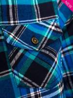Niebieska koszula w kratę z kieszonką z przodu