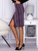Niebieska pasiasta spódnica midi z zipem                                  zdj.                                  3